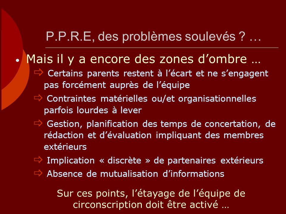 P.P.R.E, des problèmes soulevés …