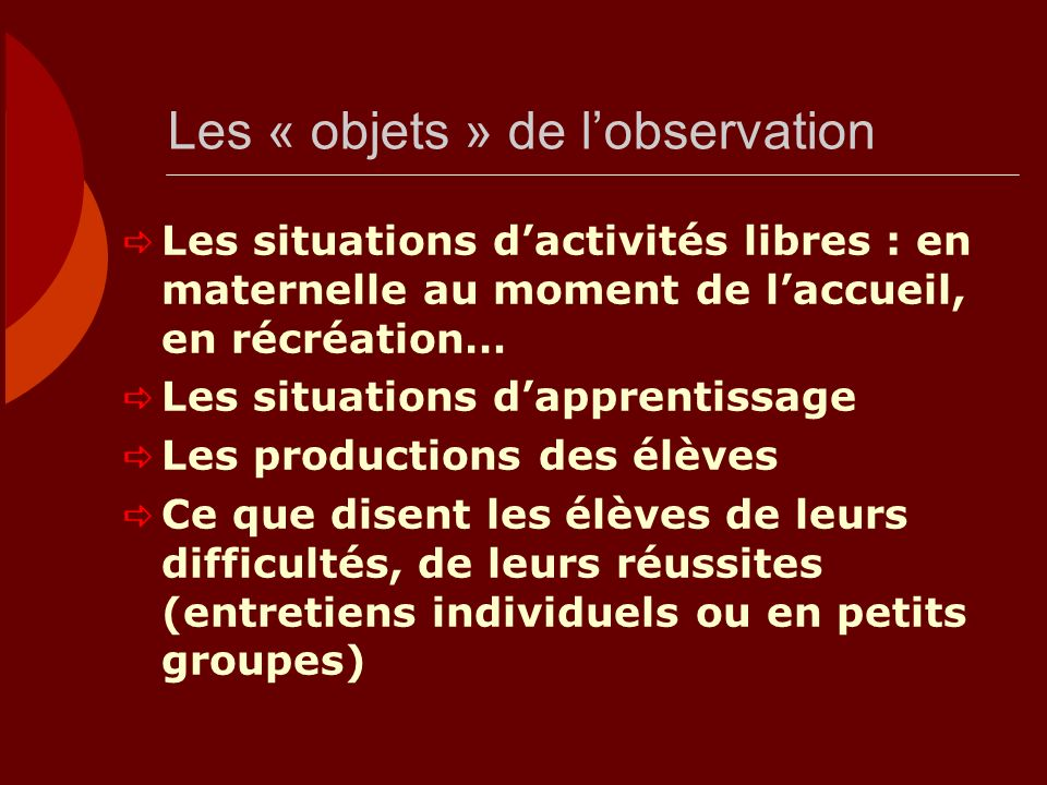 Les « objets » de l'observation