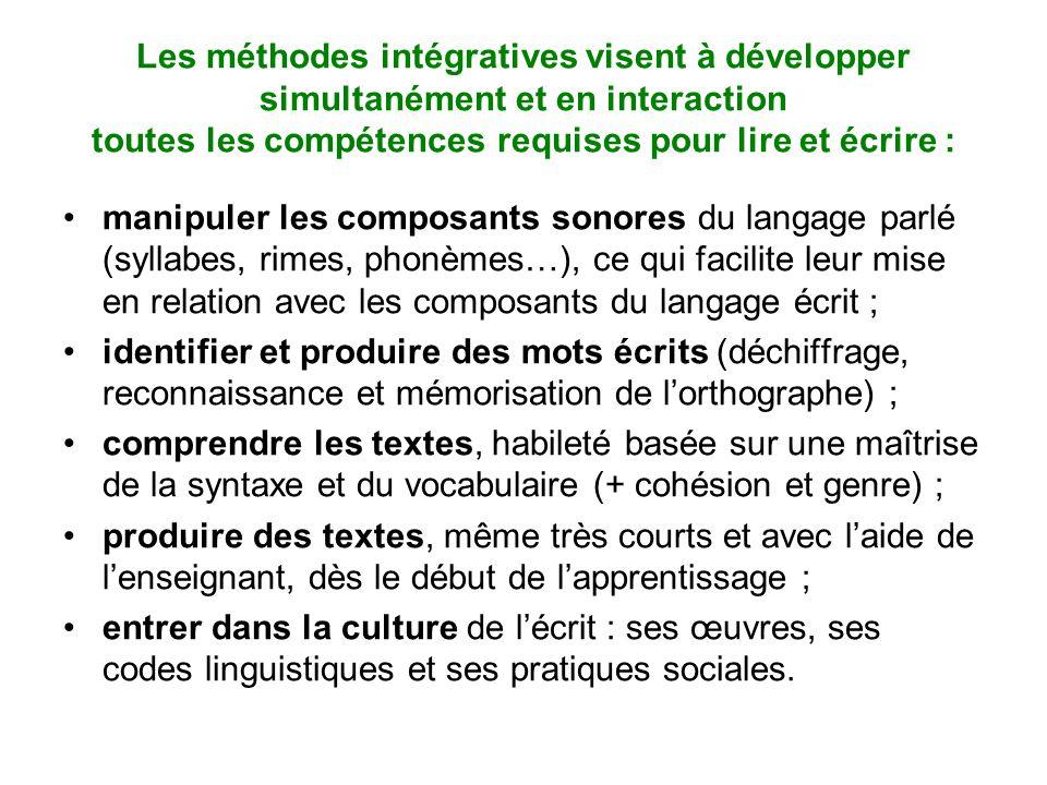 Les méthodes intégratives visent à développer simultanément et en interaction toutes les compétences requises pour lire et écrire :