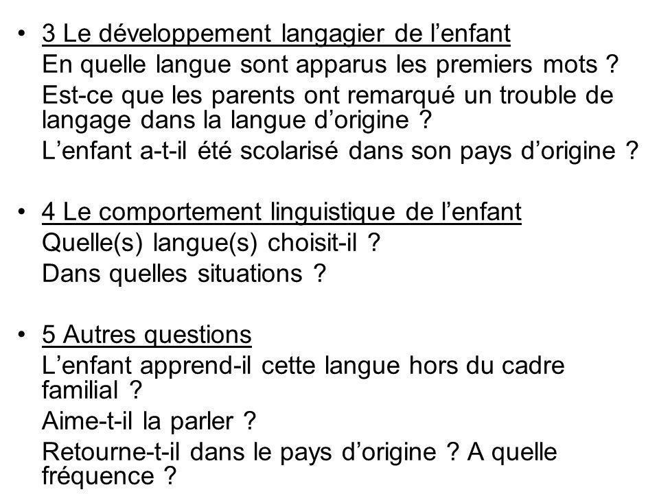 3 Le développement langagier de l'enfant