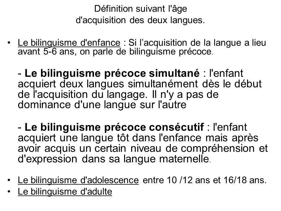 Définition suivant l âge d acquisition des deux langues.
