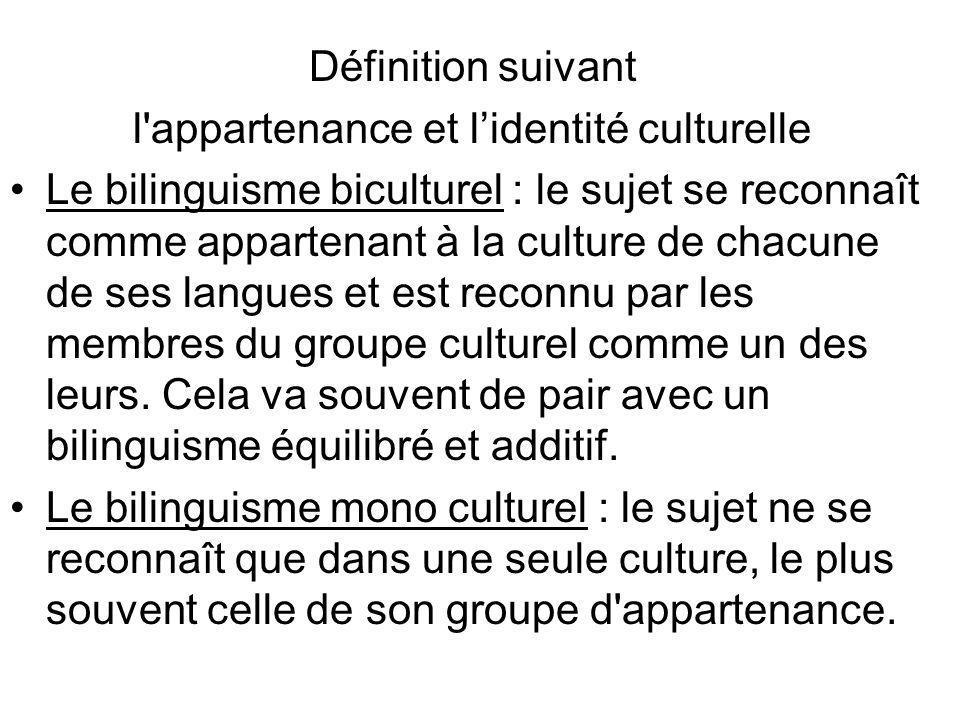 l appartenance et l'identité culturelle