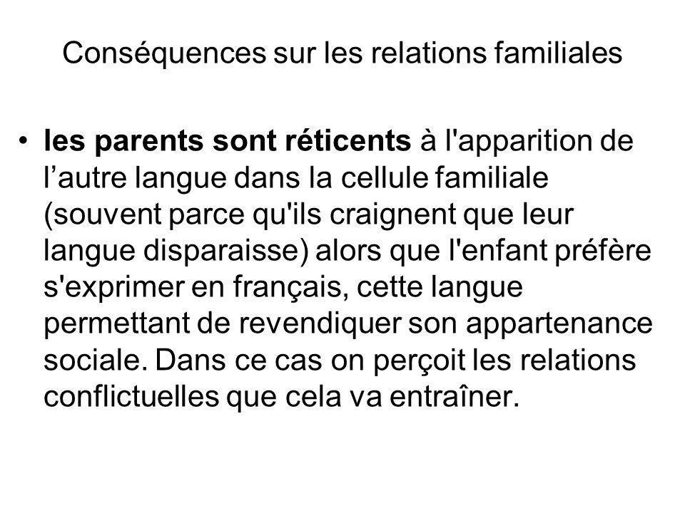Conséquences sur les relations familiales