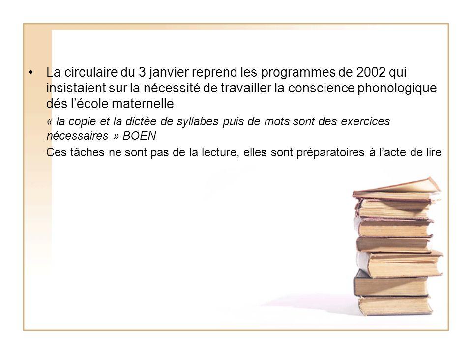 La circulaire du 3 janvier reprend les programmes de 2002 qui insistaient sur la nécessité de travailler la conscience phonologique dés l'école maternelle