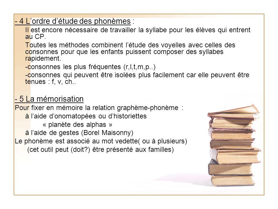 - 4 L'ordre d'étude des phonèmes :