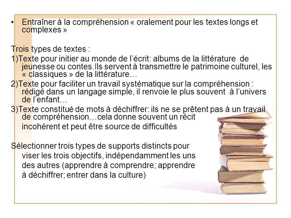 Entraîner à la compréhension « oralement pour les textes longs et complexes »