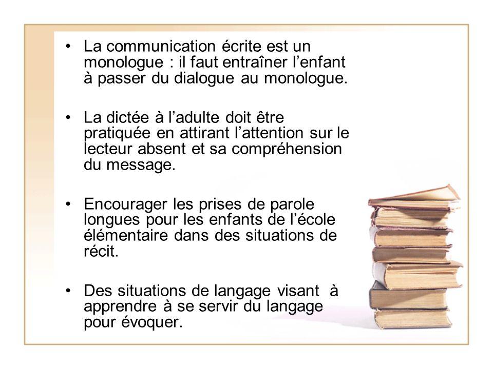 La communication écrite est un monologue : il faut entraîner l'enfant à passer du dialogue au monologue.