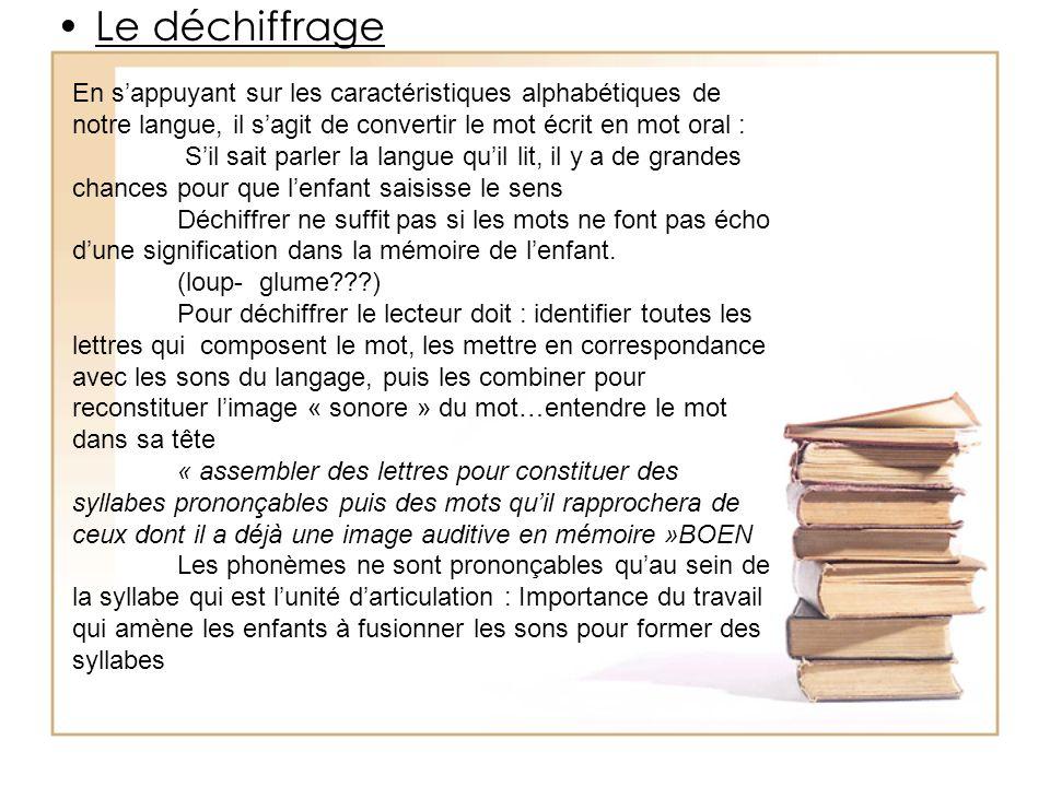 Le déchiffrage En s'appuyant sur les caractéristiques alphabétiques de notre langue, il s'agit de convertir le mot écrit en mot oral :