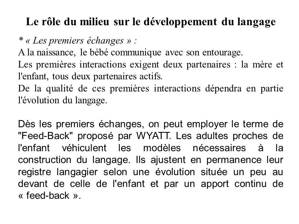 Le rôle du milieu sur le développement du langage