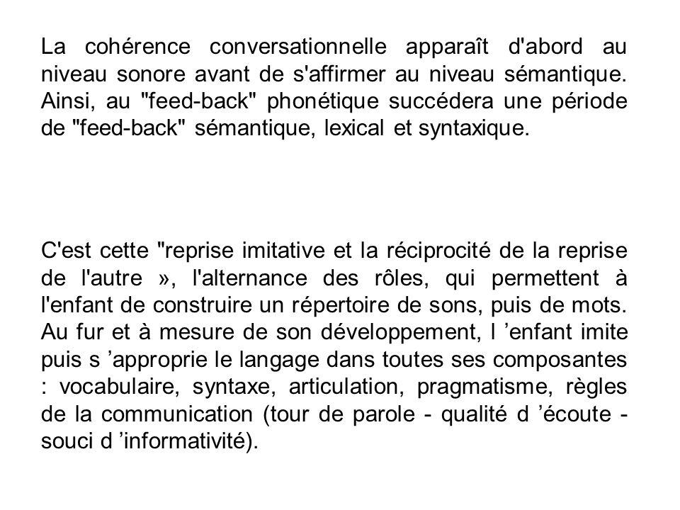 La cohérence conversationnelle apparaît d abord au niveau sonore avant de s affirmer au niveau sémantique. Ainsi, au feed-back phonétique succédera une période de feed-back sémantique, lexical et syntaxique.