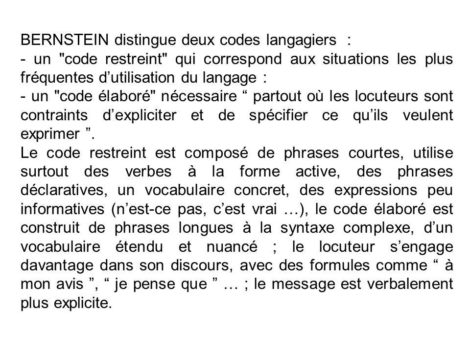 BERNSTEIN distingue deux codes langagiers :