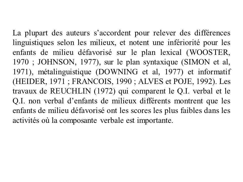La plupart des auteurs s'accordent pour relever des différences linguistiques selon les milieux, et notent une infériorité pour les enfants de milieu défavorisé sur le plan lexical (WOOSTER, 1970 ; JOHNSON, 1977), sur le plan syntaxique (SIMON et al, 1971), métalinguistique (DOWNING et al, 1977) et informatif (HEIDER, 1971 ; FRANCOIS, 1990 ; ALVES et POJE, 1992).