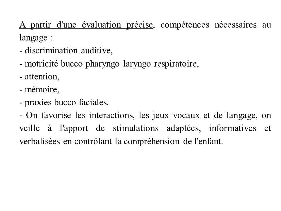 A partir d une évaluation précise, compétences nécessaires au langage :