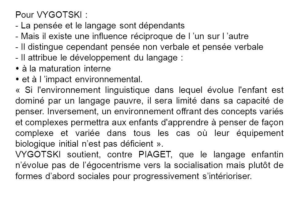 Pour VYGOTSKI : - La pensée et le langage sont dépendants. - Mais il existe une influence réciproque de l 'un sur l 'autre.
