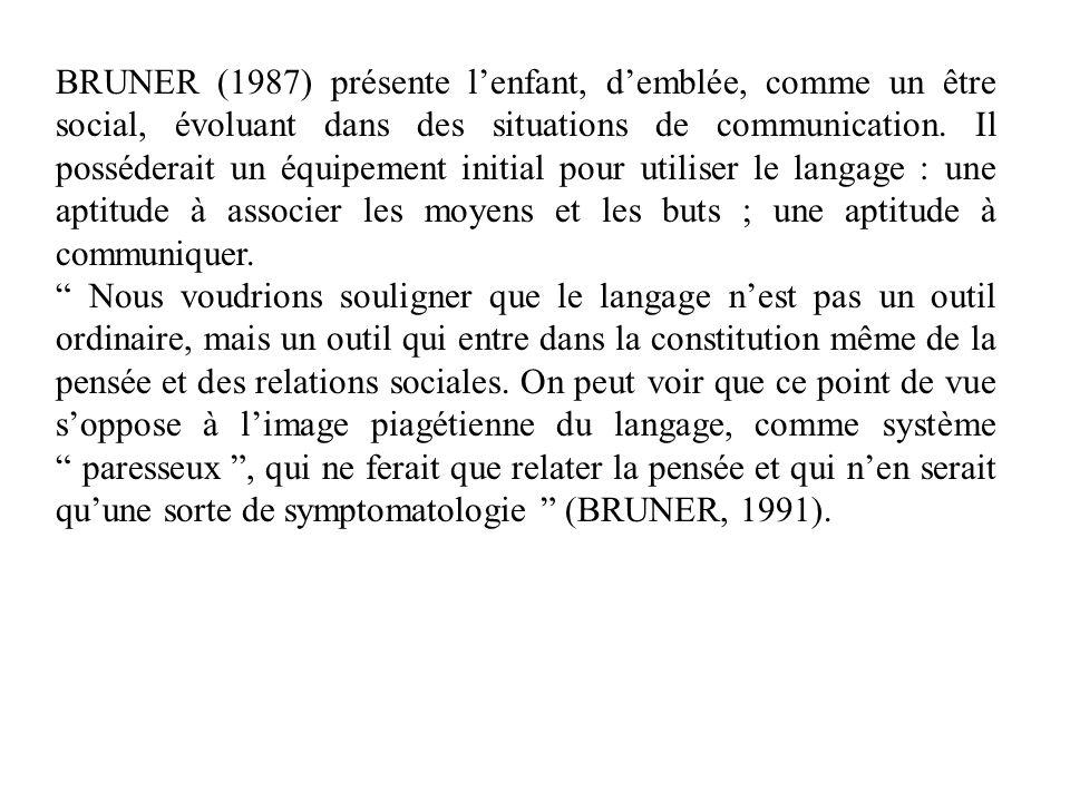 BRUNER (1987) présente l'enfant, d'emblée, comme un être social, évoluant dans des situations de communication. Il posséderait un équipement initial pour utiliser le langage : une aptitude à associer les moyens et les buts ; une aptitude à communiquer.