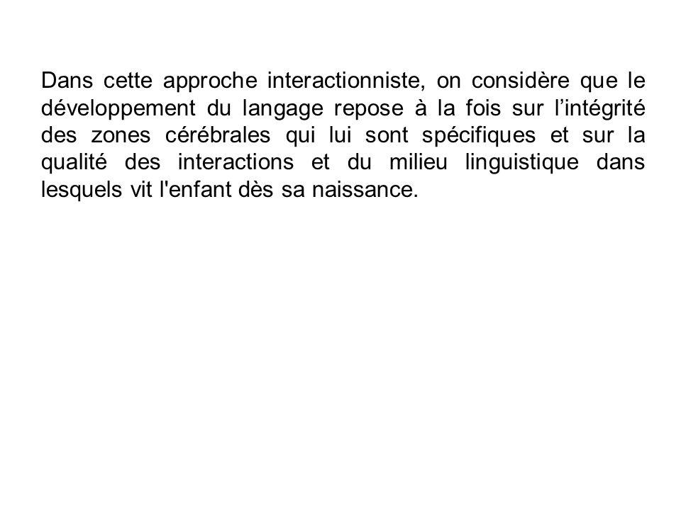 Dans cette approche interactionniste, on considère que le développement du langage repose à la fois sur l'intégrité des zones cérébrales qui lui sont spécifiques et sur la qualité des interactions et du milieu linguistique dans lesquels vit l enfant dès sa naissance.