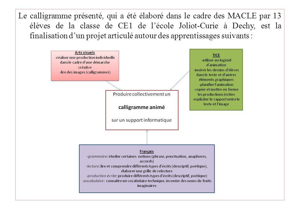 Le calligramme présenté, qui a été élaboré dans le cadre des MACLE par 13 élèves de la classe de CE1 de l'école Joliot-Curie à Dechy, est la finalisation d'un projet articulé autour des apprentissages suivants :