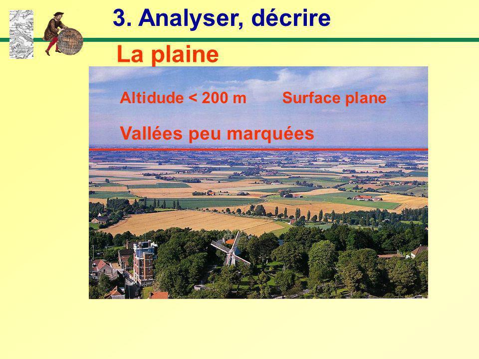 3. Analyser, décrire La plaine Vallées peu marquées