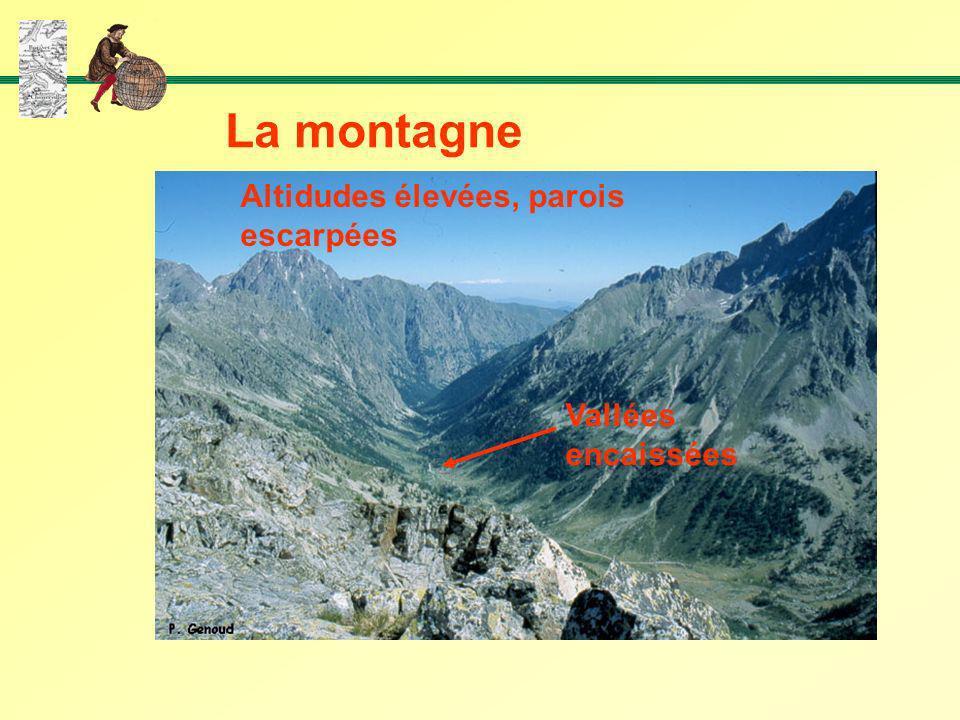 La montagne Altidudes élevées, parois escarpées Vallées encaissées