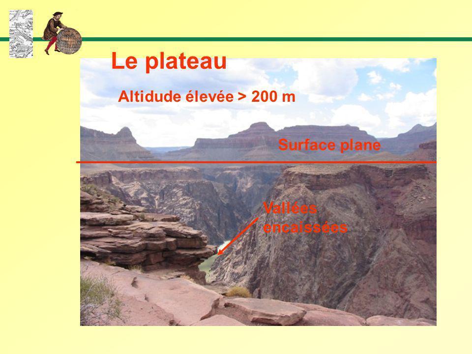 Le plateau Altidude élevée > 200 m Surface plane Vallées encaissées