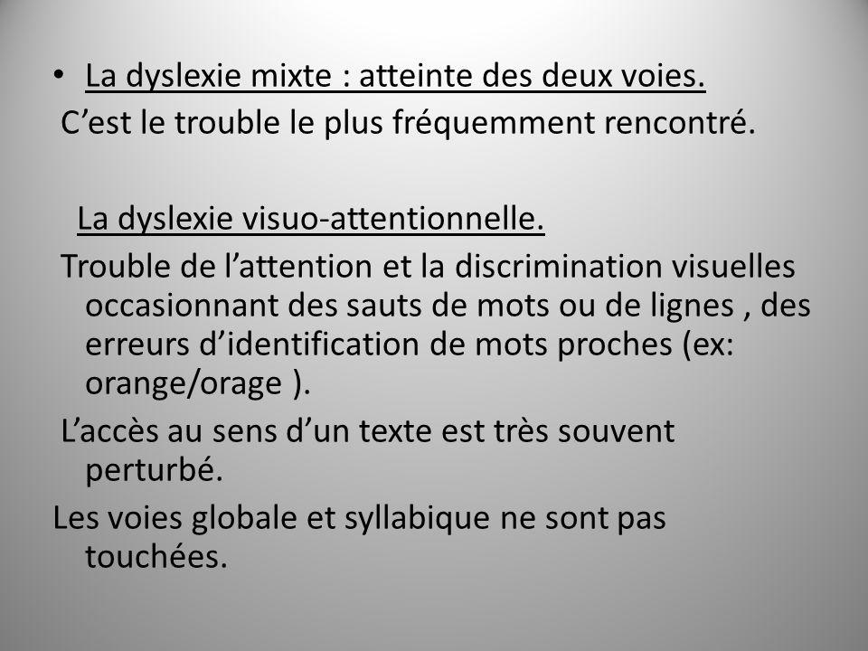 La dyslexie mixte : atteinte des deux voies.