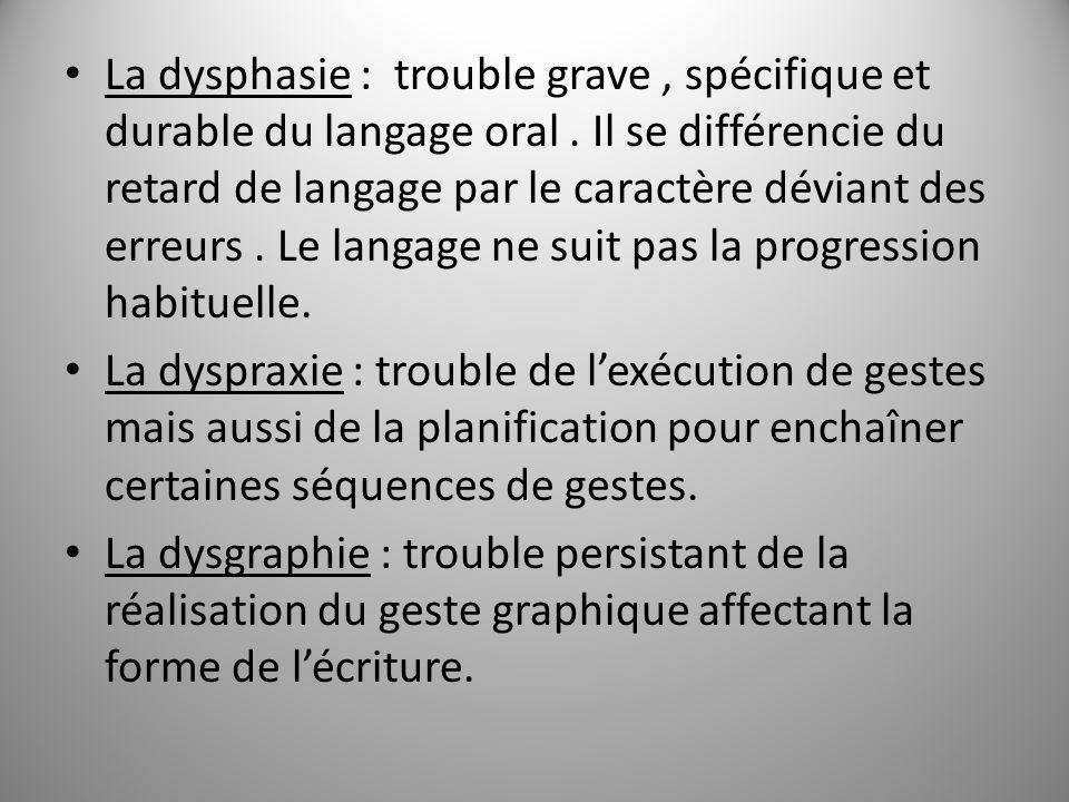 La dysphasie : trouble grave , spécifique et durable du langage oral