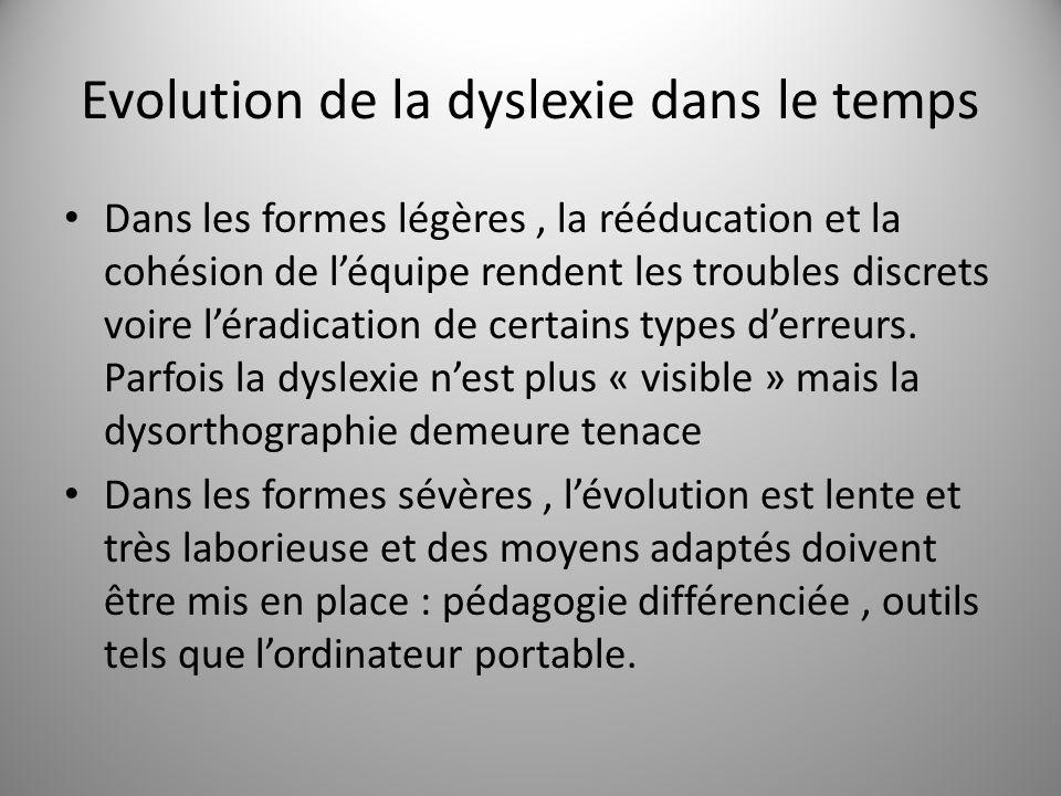 Evolution de la dyslexie dans le temps