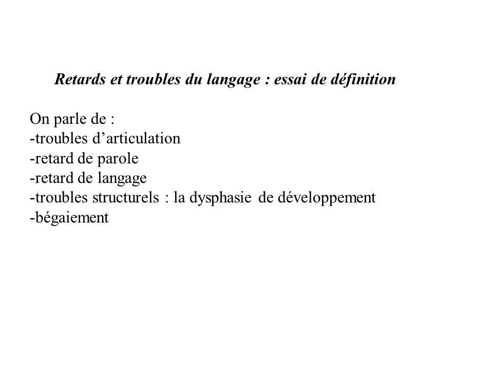 Retards et troubles du langage : essai de définition