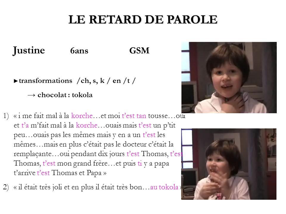 LE RETARD DE PAROLE Justine 6ans GSM