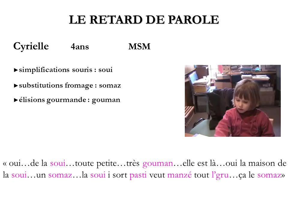LE RETARD DE PAROLE Cyrielle 4ans MSM