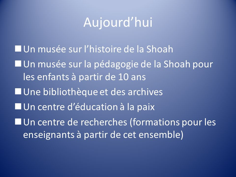 Aujourd'hui Un musée sur l'histoire de la Shoah