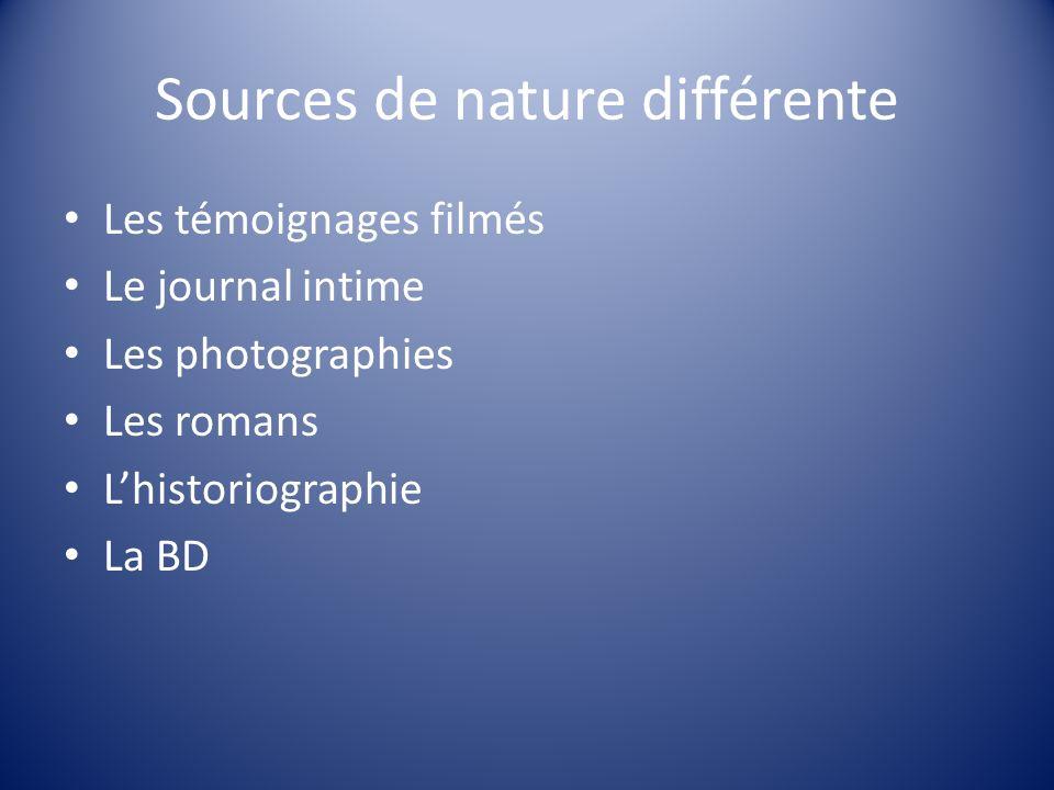 Sources de nature différente
