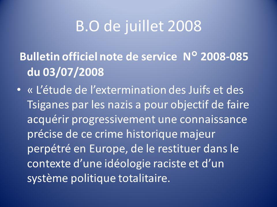 B.O de juillet 2008 Bulletin officiel note de service N° 2008-085 du 03/07/2008.