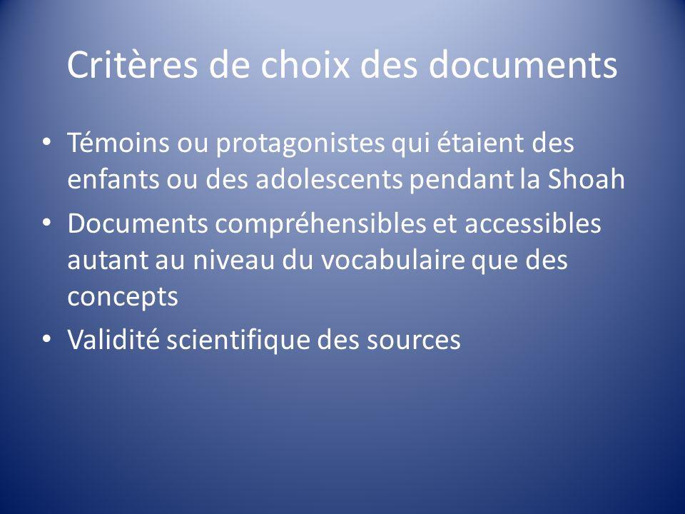 Critères de choix des documents
