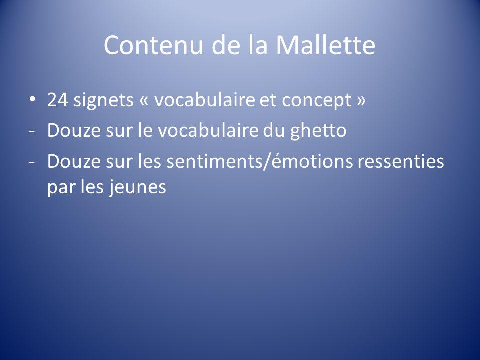 Contenu de la Mallette 24 signets « vocabulaire et concept »