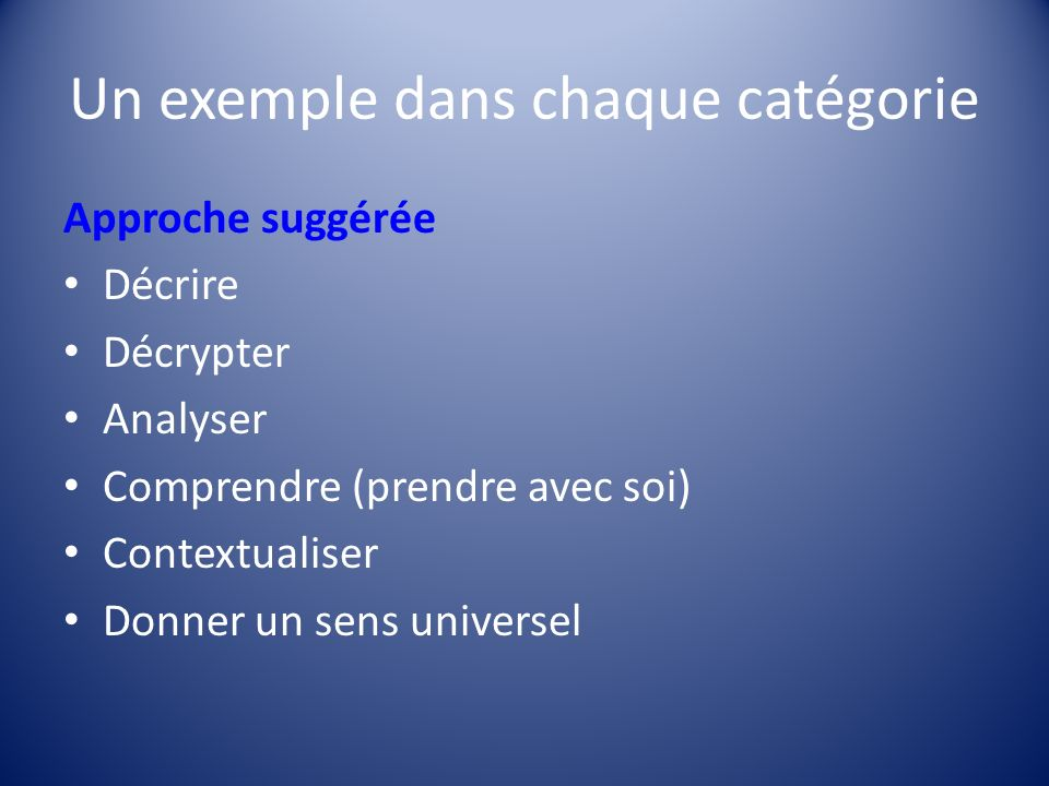 Un exemple dans chaque catégorie
