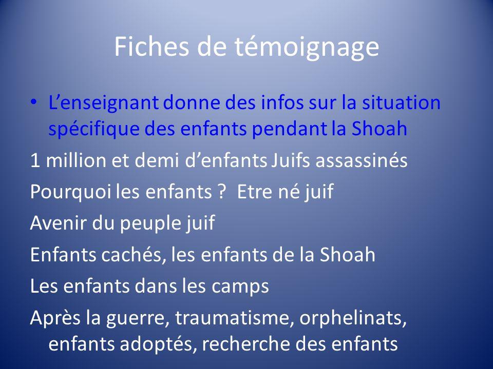 Fiches de témoignage L'enseignant donne des infos sur la situation spécifique des enfants pendant la Shoah.