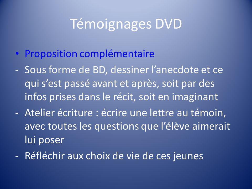 Témoignages DVD Proposition complémentaire