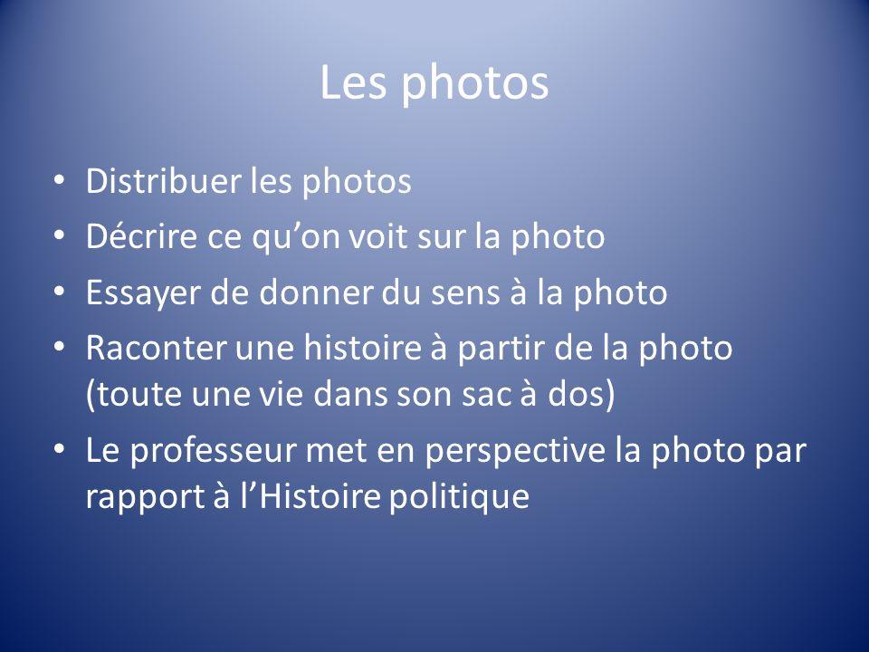 Les photos Distribuer les photos Décrire ce qu'on voit sur la photo