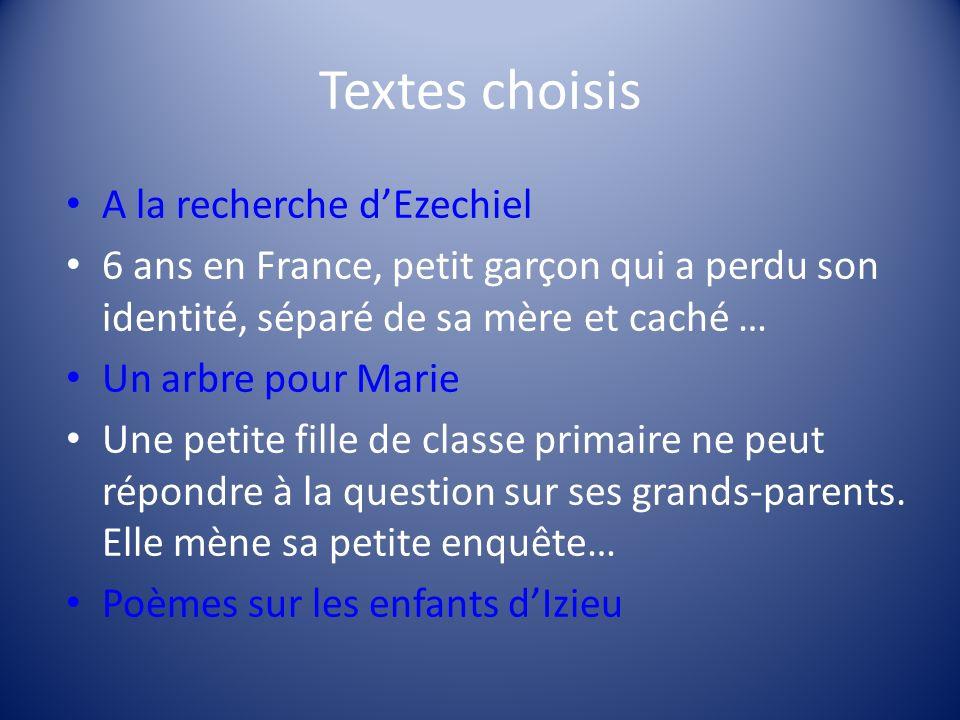 Textes choisis A la recherche d'Ezechiel
