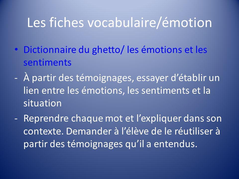 Les fiches vocabulaire/émotion