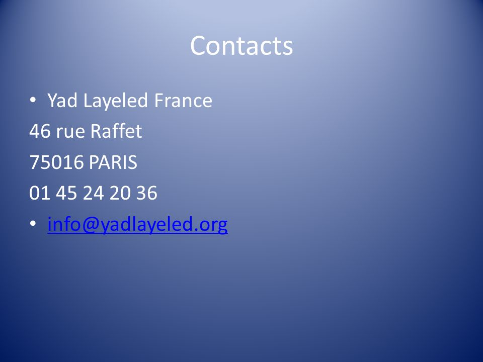 Contacts Yad Layeled France 46 rue Raffet 75016 PARIS 01 45 24 20 36