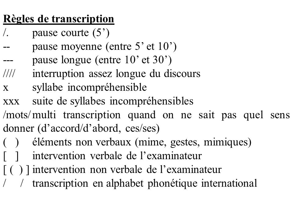 Règles de transcription