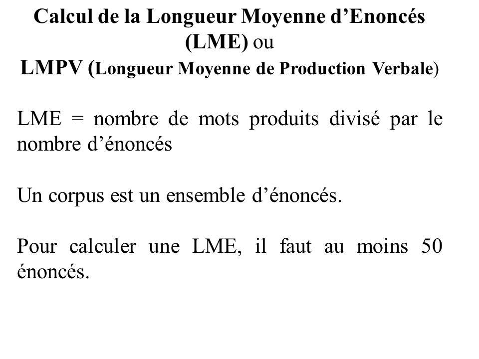 Calcul de la Longueur Moyenne d'Enoncés (LME) ou