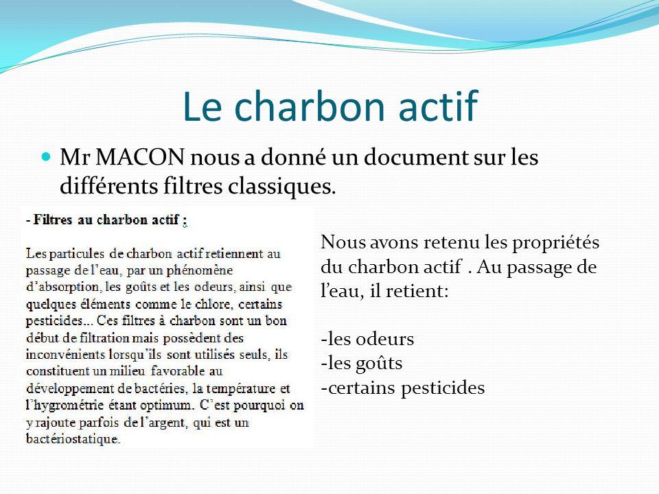 Le charbon actif Mr MACON nous a donné un document sur les différents filtres classiques.