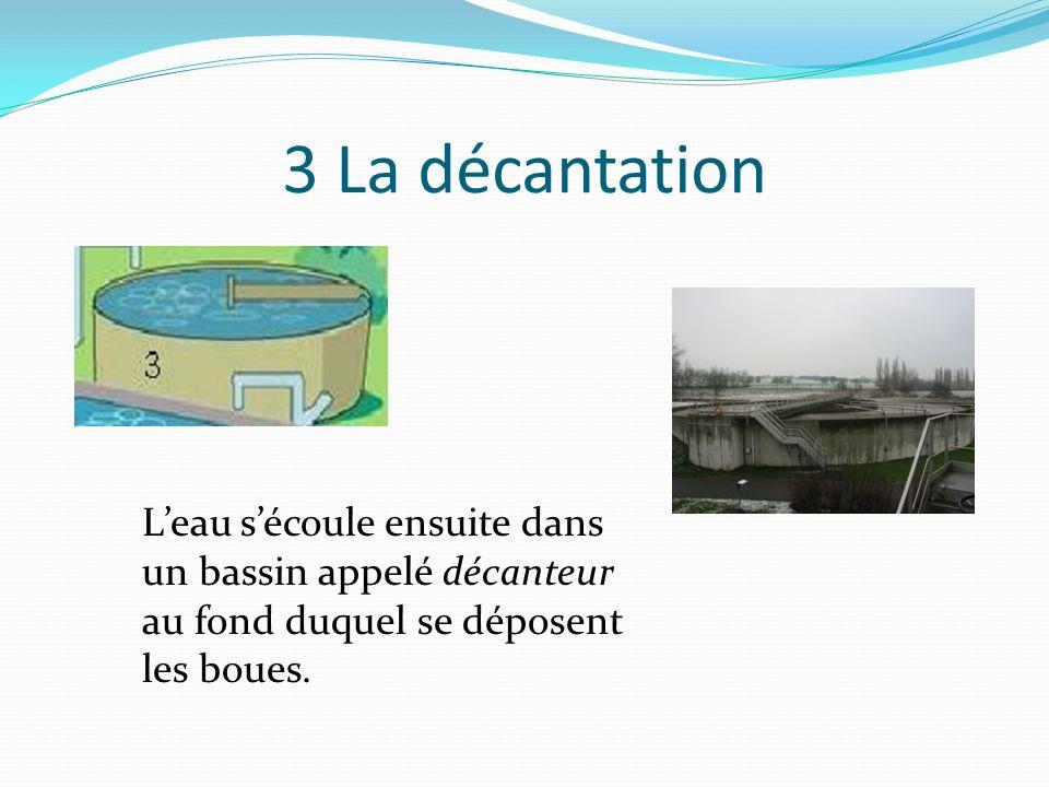 3 La décantation L'eau s'écoule ensuite dans un bassin appelé décanteur au fond duquel se déposent les boues.