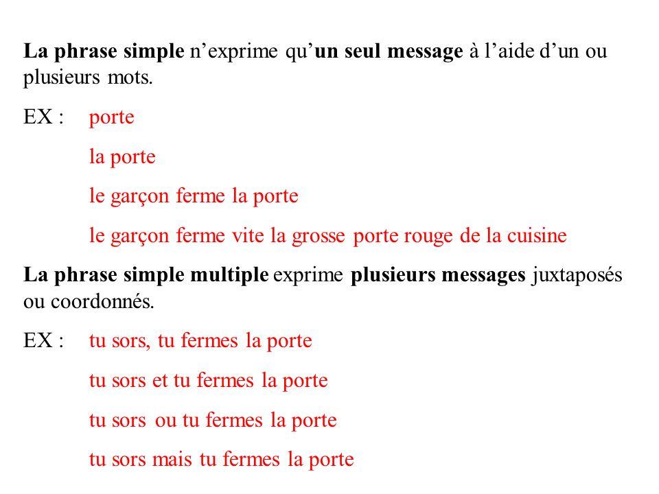 La phrase simple n'exprime qu'un seul message à l'aide d'un ou plusieurs mots.