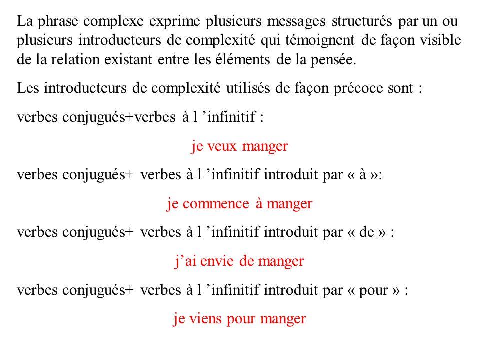 La phrase complexe exprime plusieurs messages structurés par un ou plusieurs introducteurs de complexité qui témoignent de façon visible de la relation existant entre les éléments de la pensée.