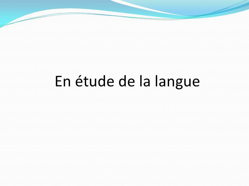 En étude de la langue