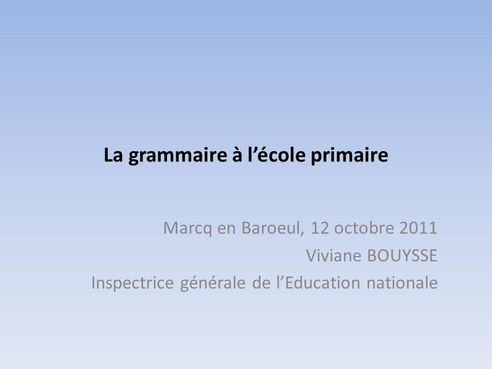 La grammaire à l'école primaire